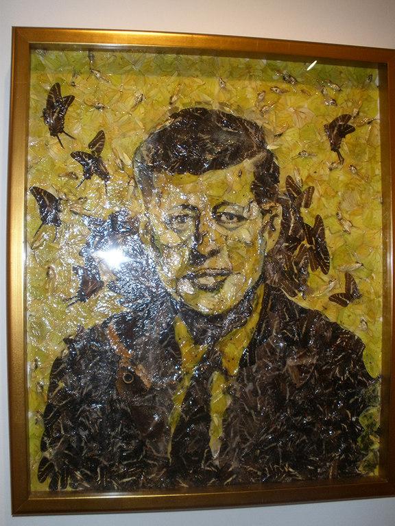 Cuadro de JFK hecho con mariposas