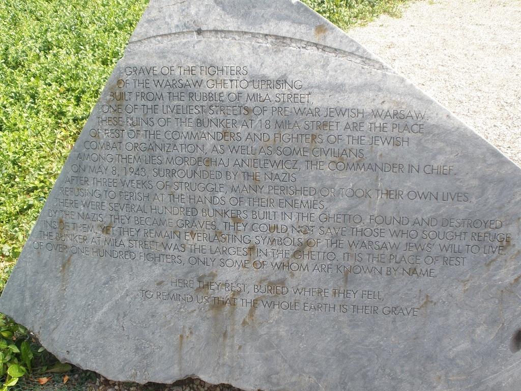 Lapida en memoria del alzamiento del gueto de varsovia