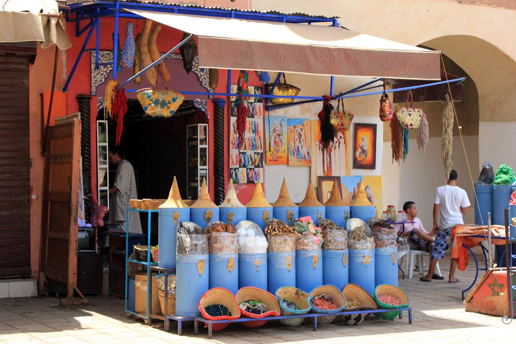 Parada de especies en Marrakech