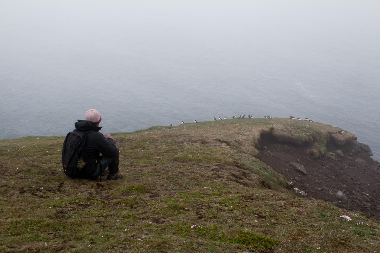 Aitor fotografiando frailecillos al norte de Islandia