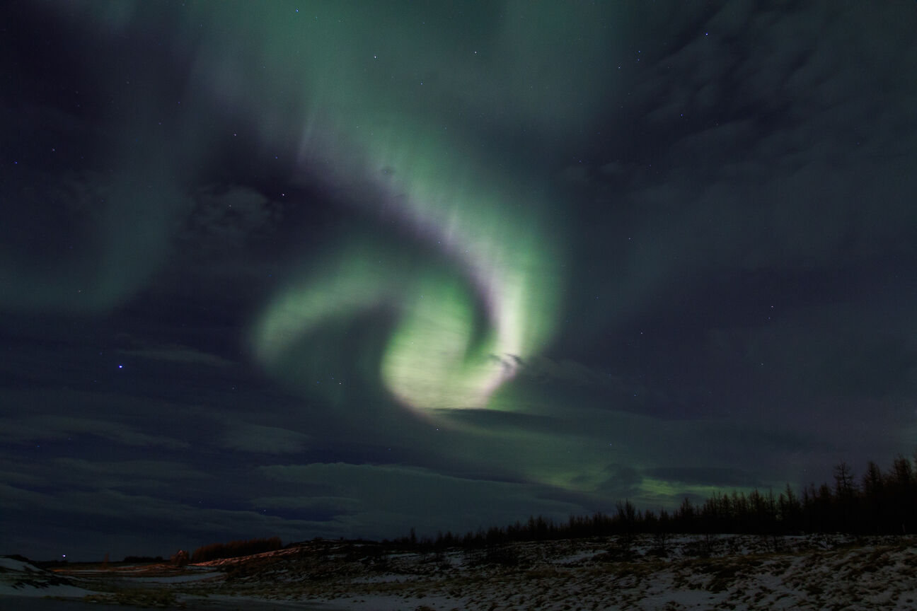 Aurora boreal en forma de espiral