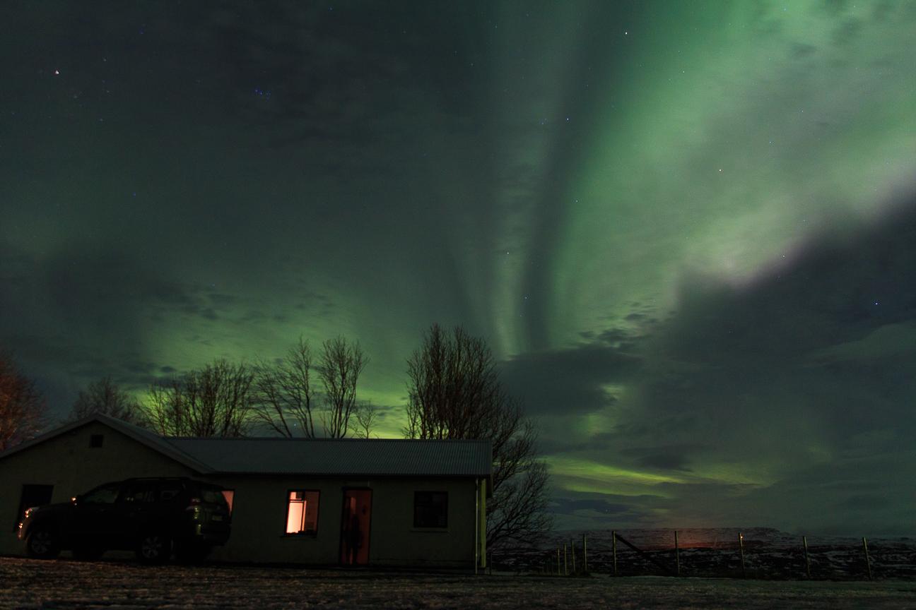 Aurora sobre nuestra casa en Finstadir - Islandia