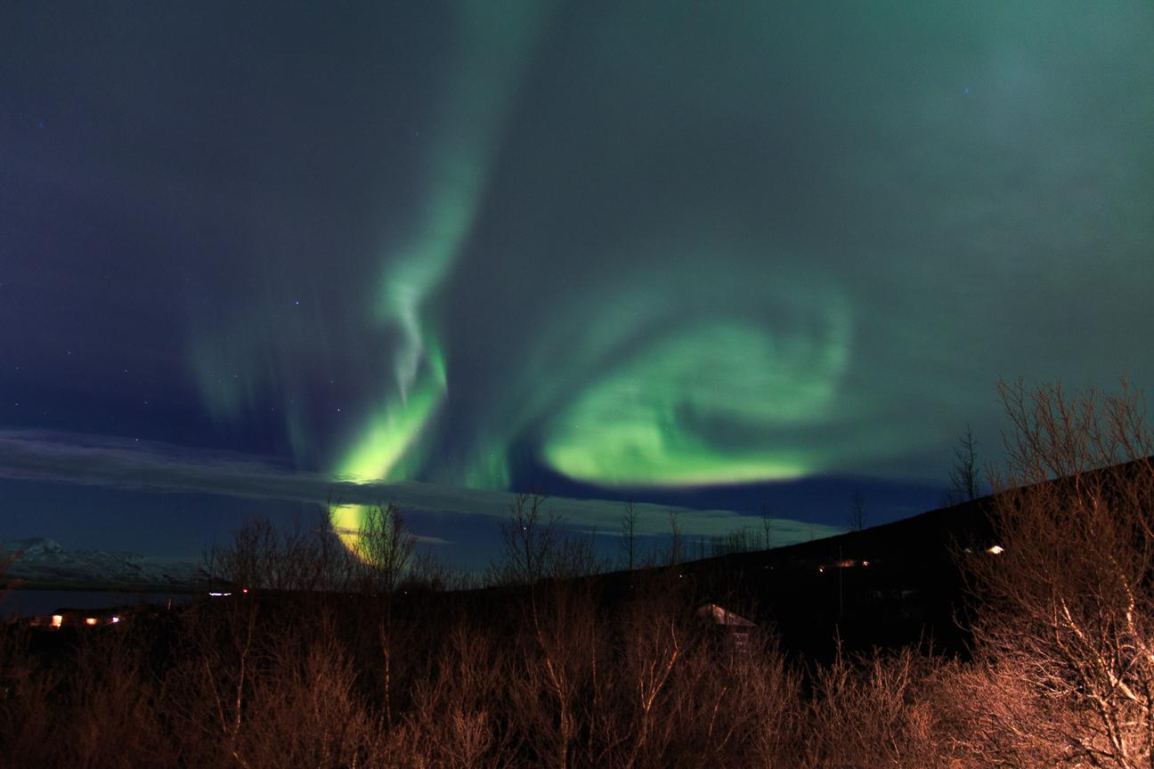 Aurora boreal intensa