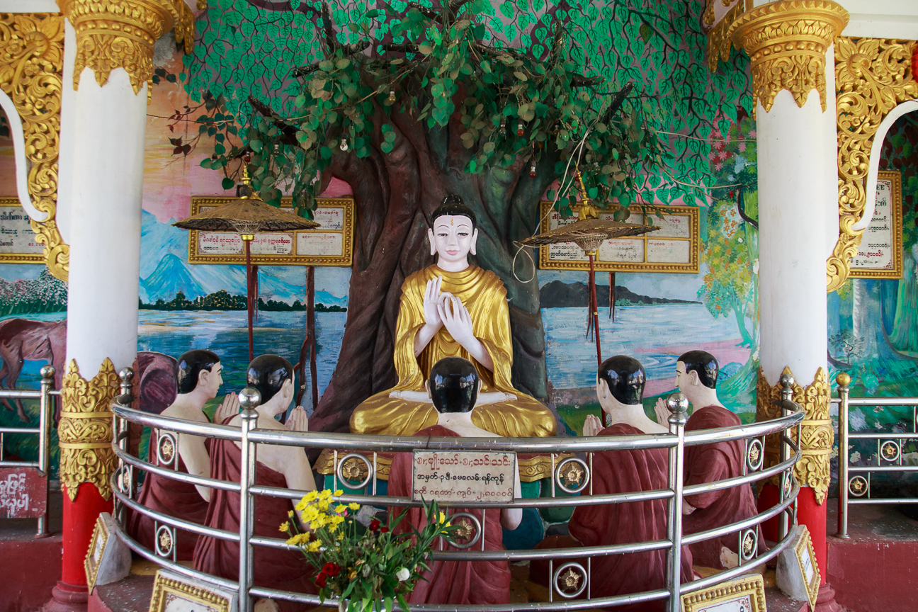 Budha y discipulos en Hintha gon Pagoda