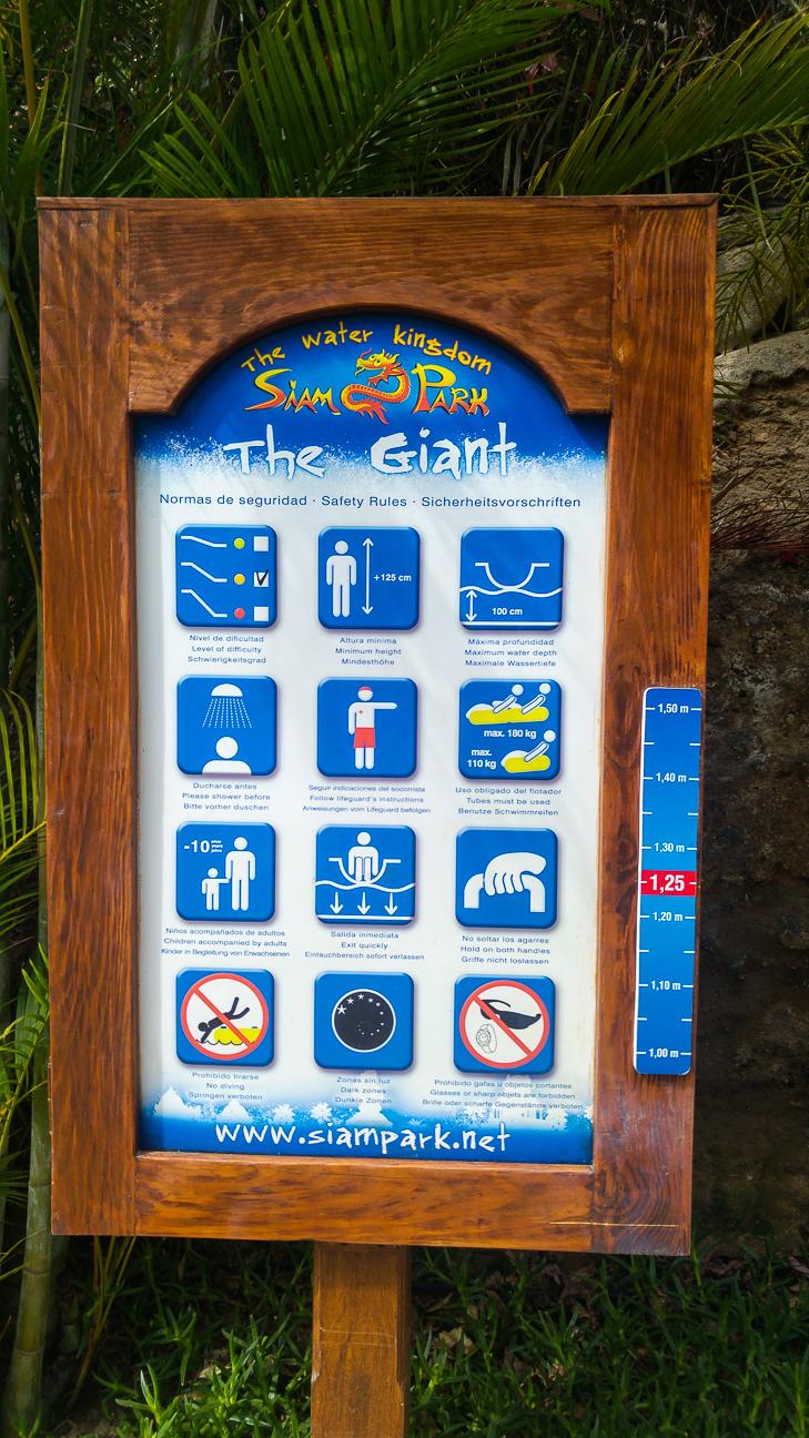 Carteles informativos Siam Park en Tenerife