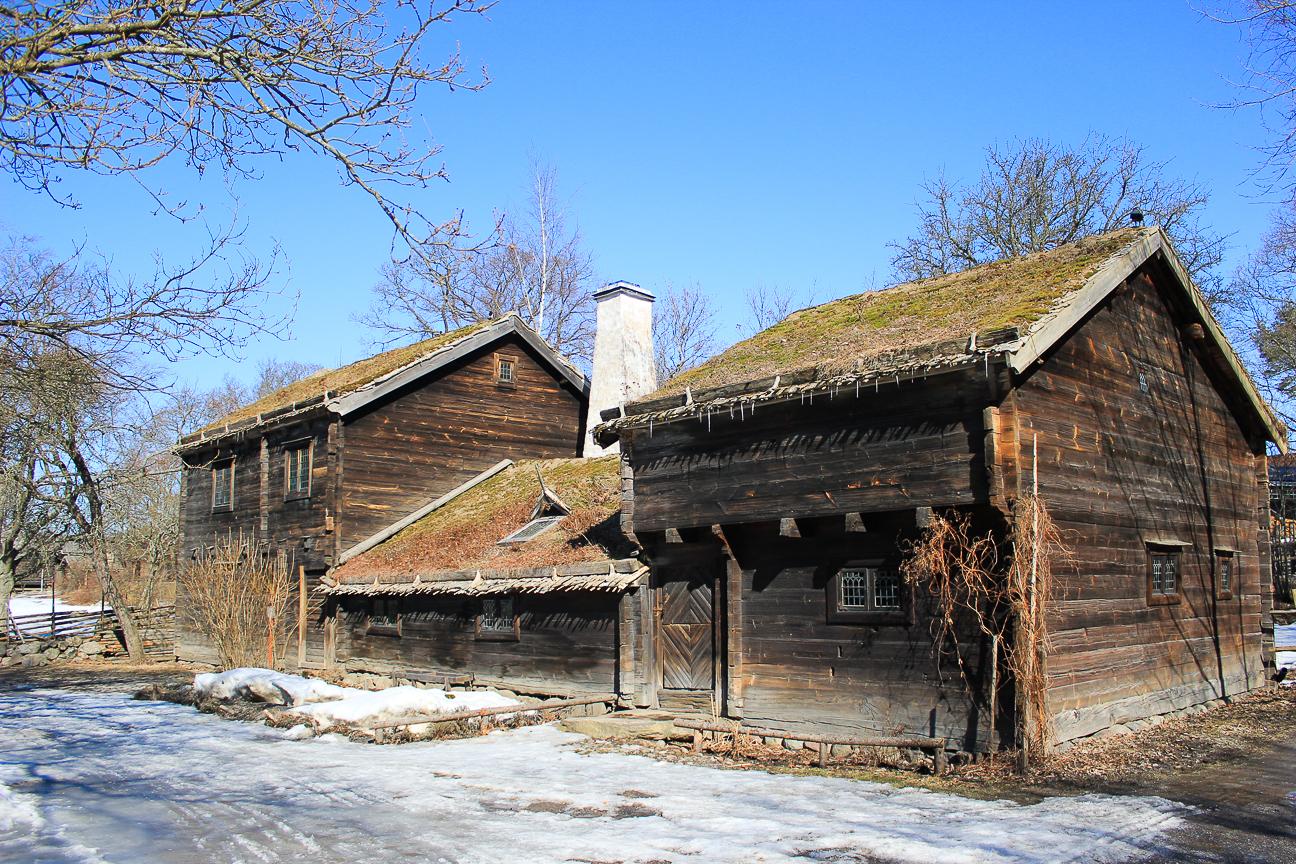 Casas con Tejados verdes en Skansen