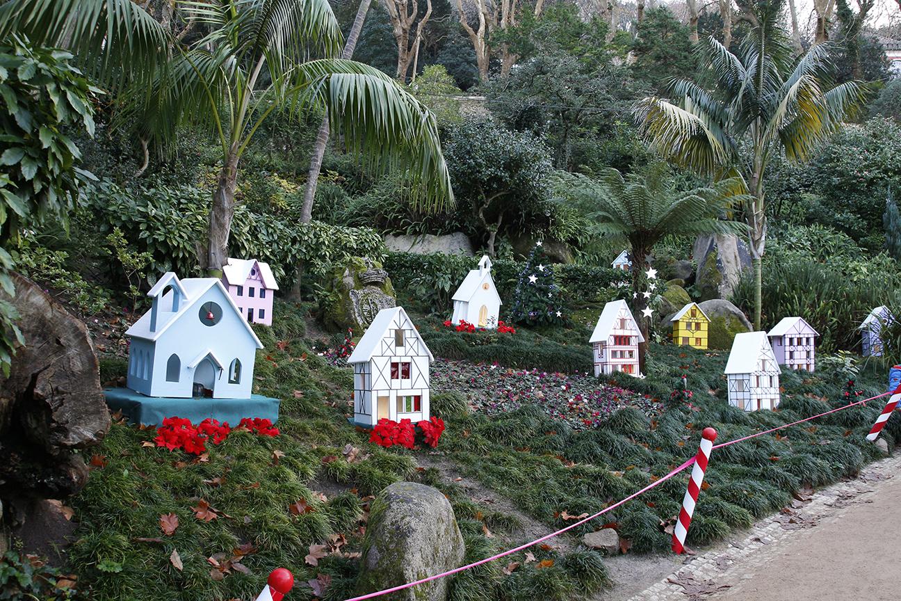 Casitas en Sintra en parque de Navidad