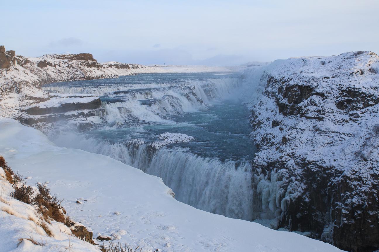 Catarata Gullfoss en invierno