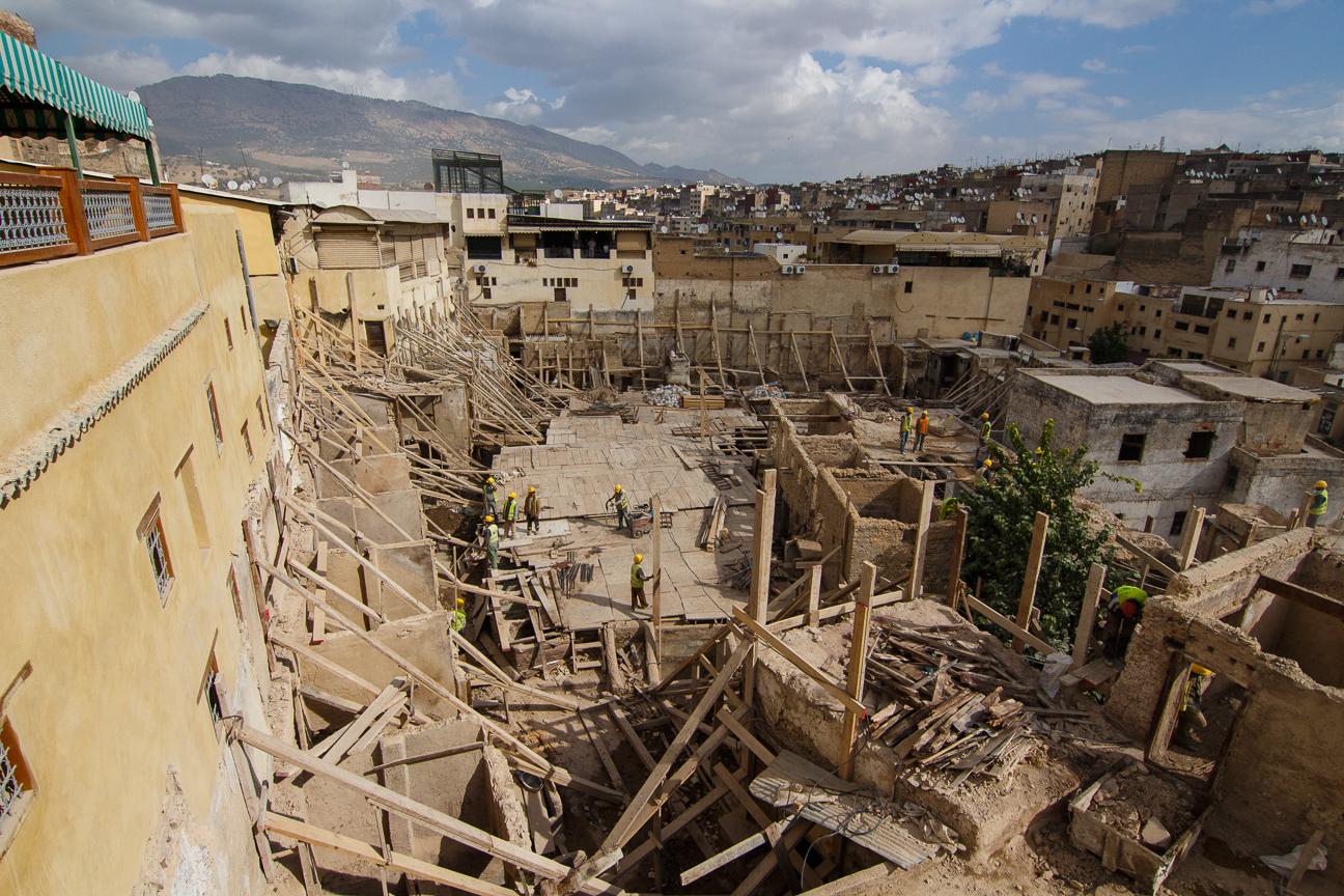 Cortidurias Chouwara en obras en Fez