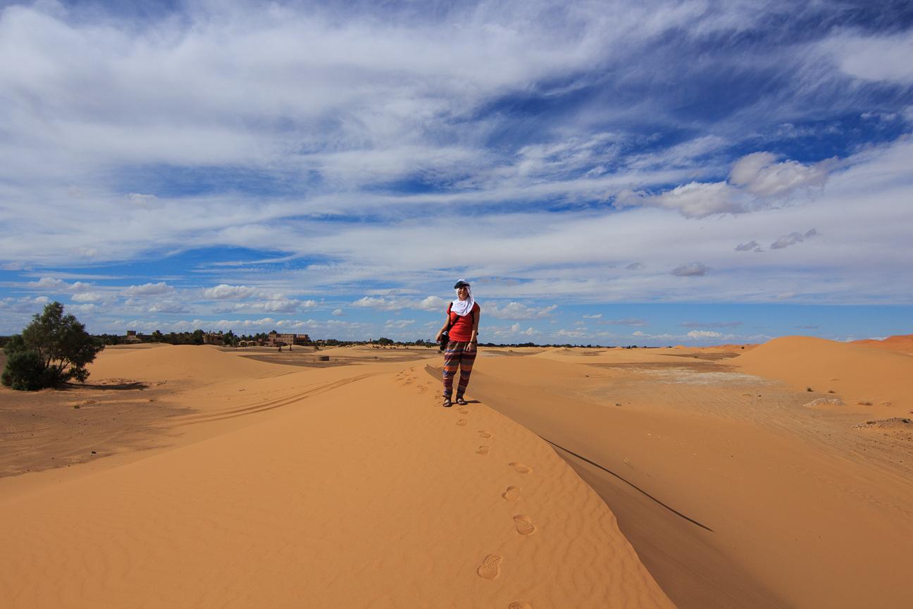 Dunas junto a nuestro hotel en el desierto de Merzouga