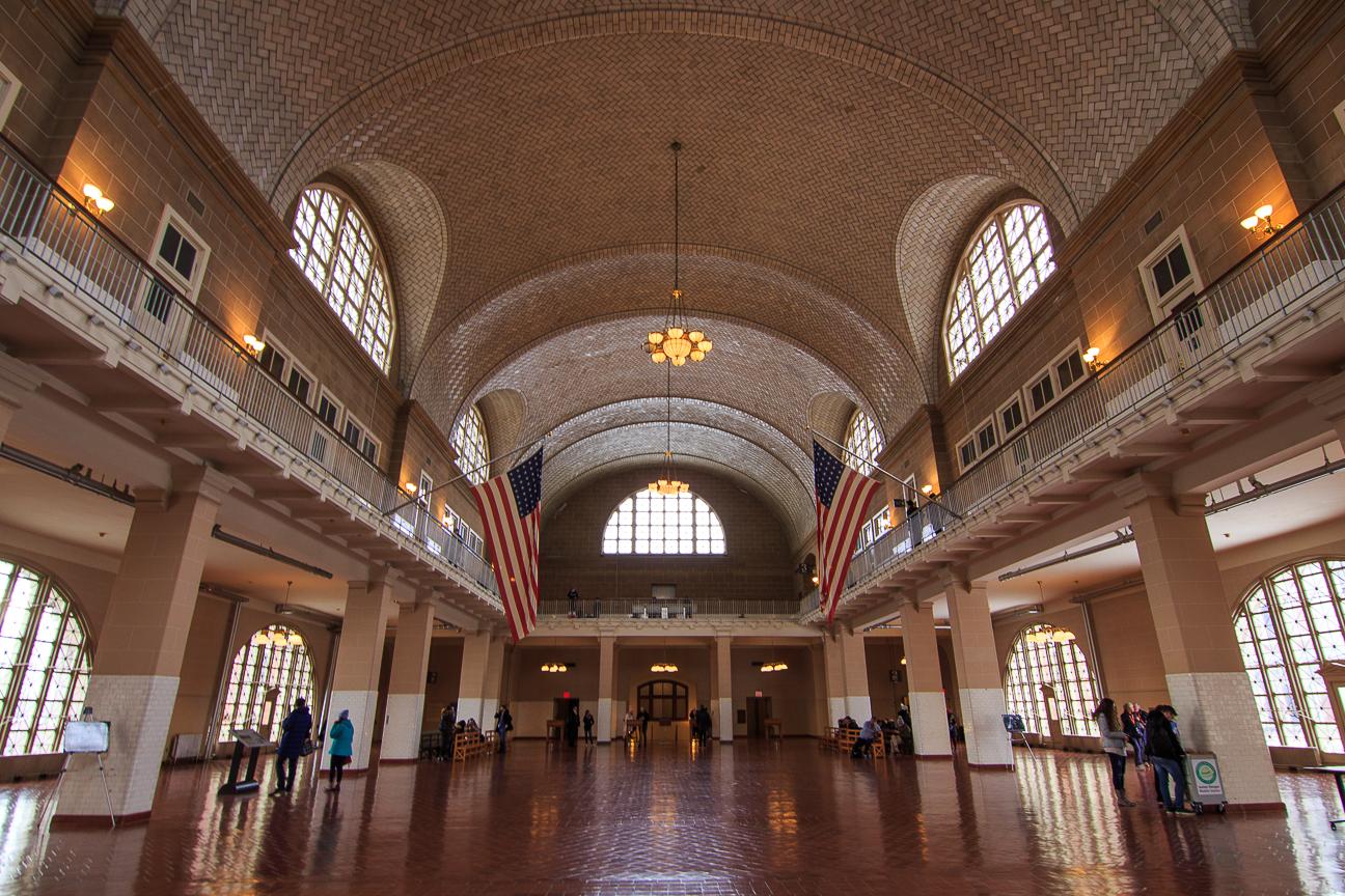 Edificio Ellis Island Nueva York en invierno