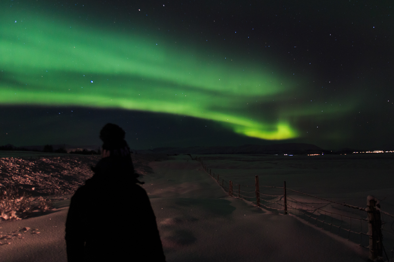 Henar contemplando su primera aurora boreal