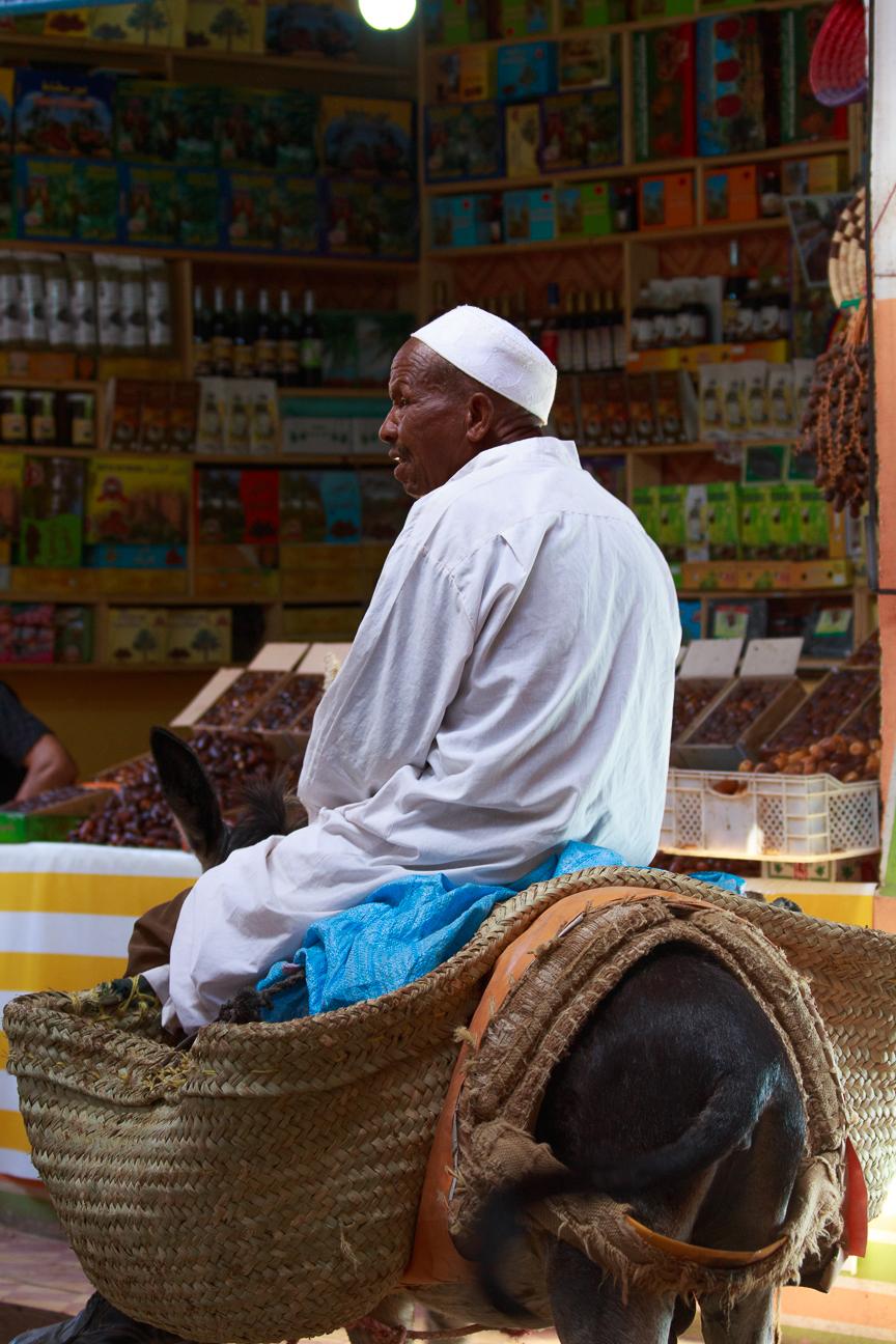 Hombre sobre burro en Rissani