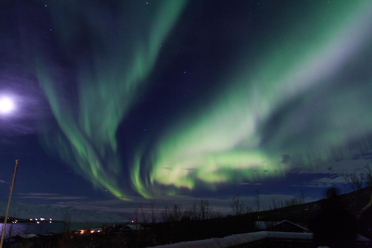 Impresionante aurora vista desde la terraza