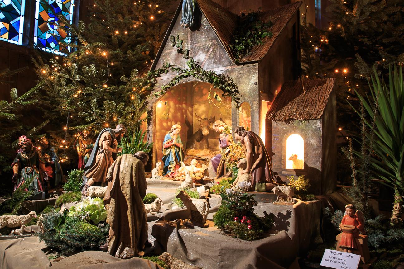 Pesebre en la Iglesia de Alsacia de Kayserberg