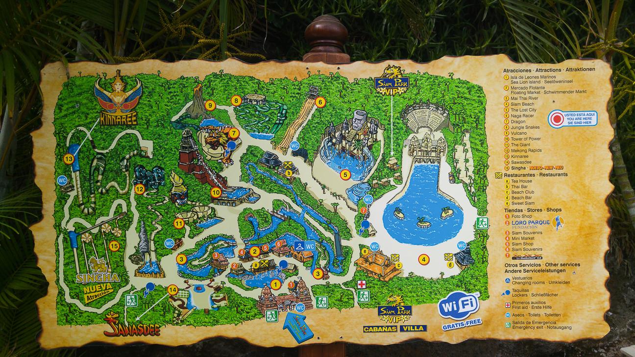 Mapa de Siam Park en Tenerife