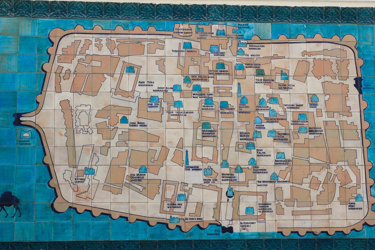 Mapa del Ichon Qala en Khiva