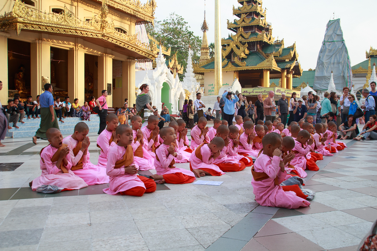 Monjas en la Shwedagon Pagoda