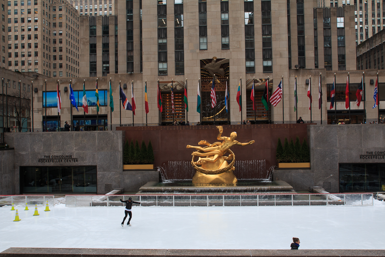 Patinaje sobre hielo Nueva York en invierno