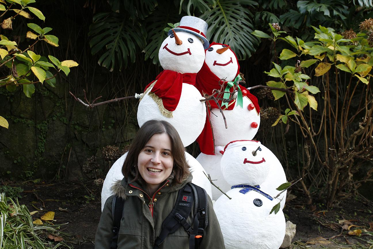 Postal de Navidad con munecos de nieve