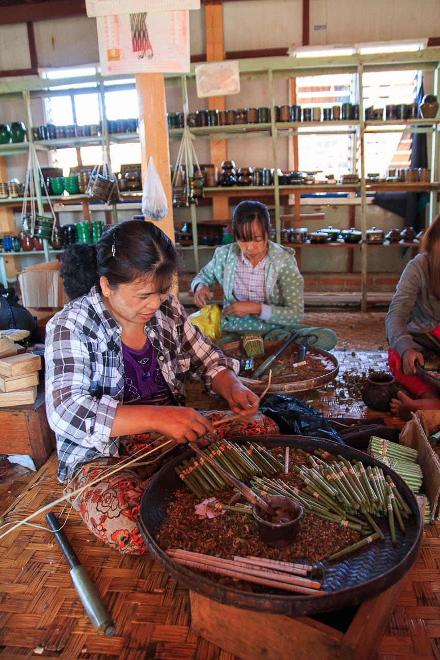 Puedes ver en el lago Inle como fabrican puros