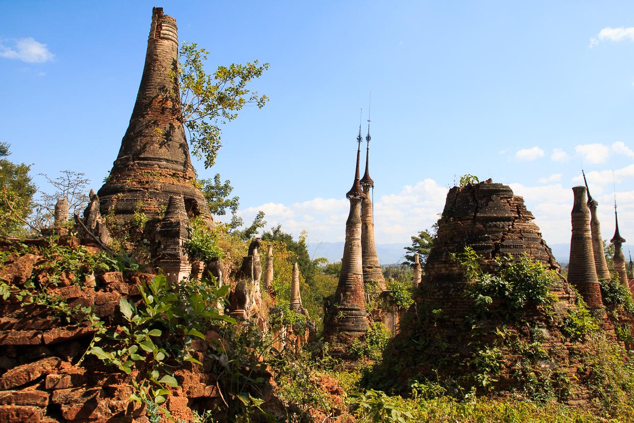 Que ver en el lago Inle - Estupas derruidas Myanmar