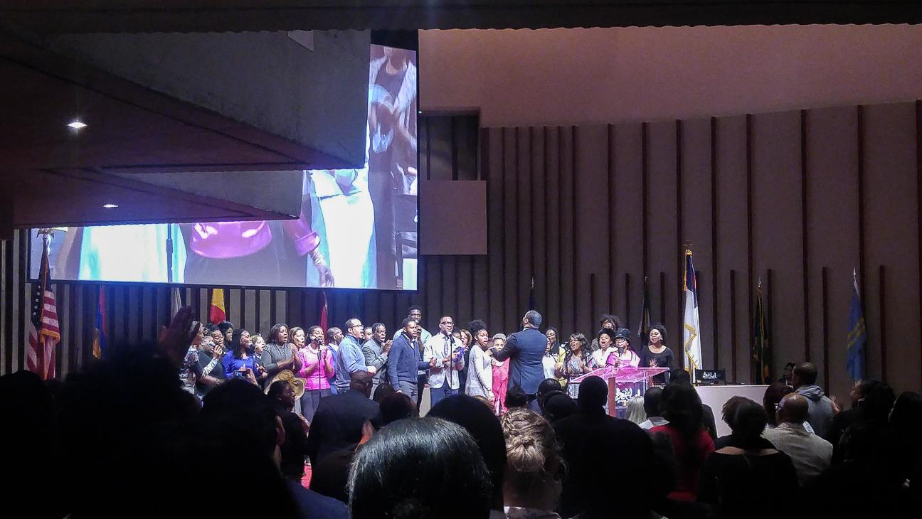 Recibimiento misa gospel en Nueva York