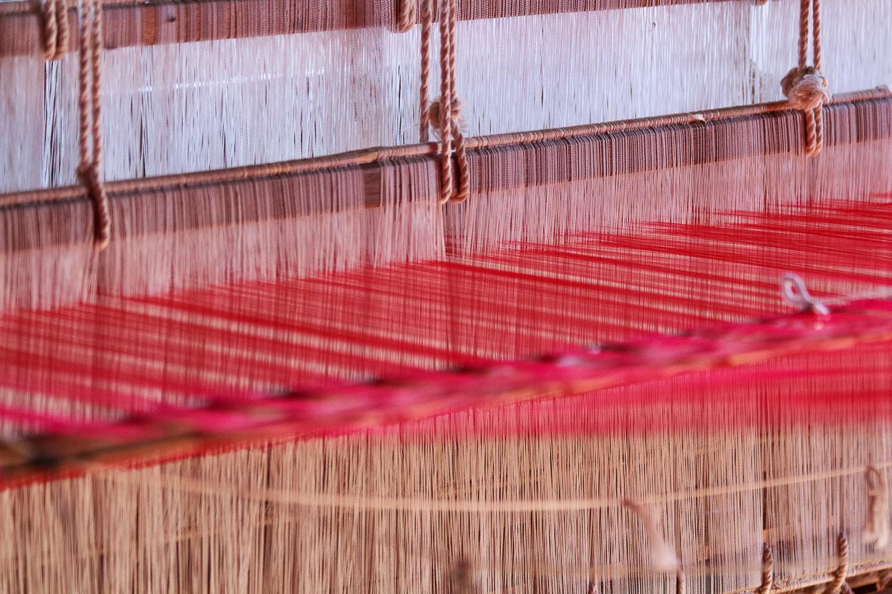 tejido hecho con la flot de loto en el lago Inle