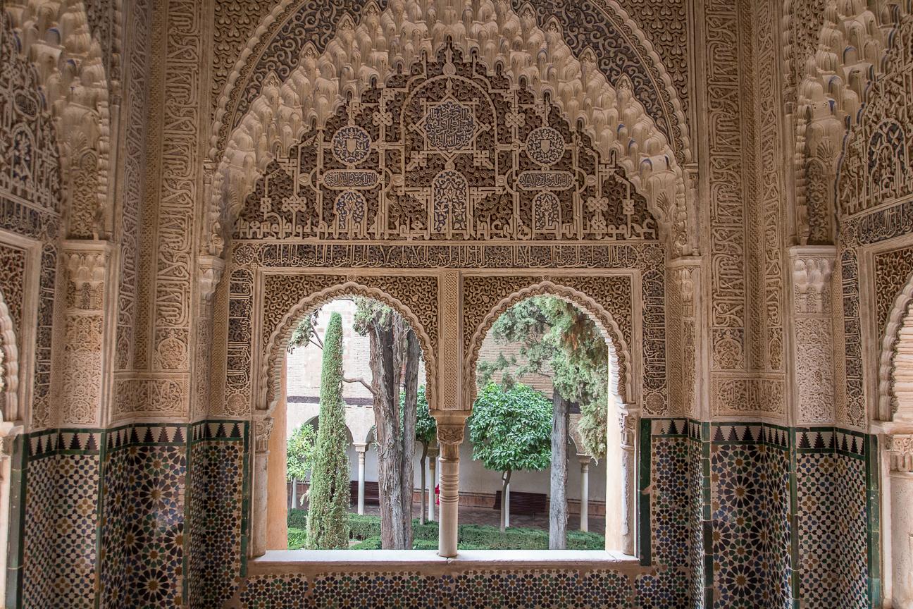 Ventanas enyesadas en los palacios nazaries